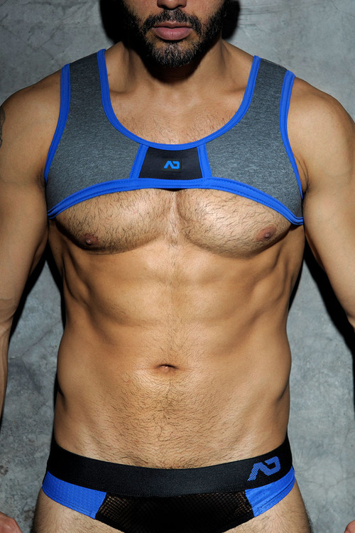16 Royal Blue - Addicted Fetish Spacer Harness ADF20 - Front View - Topdrawers Underwear for Men