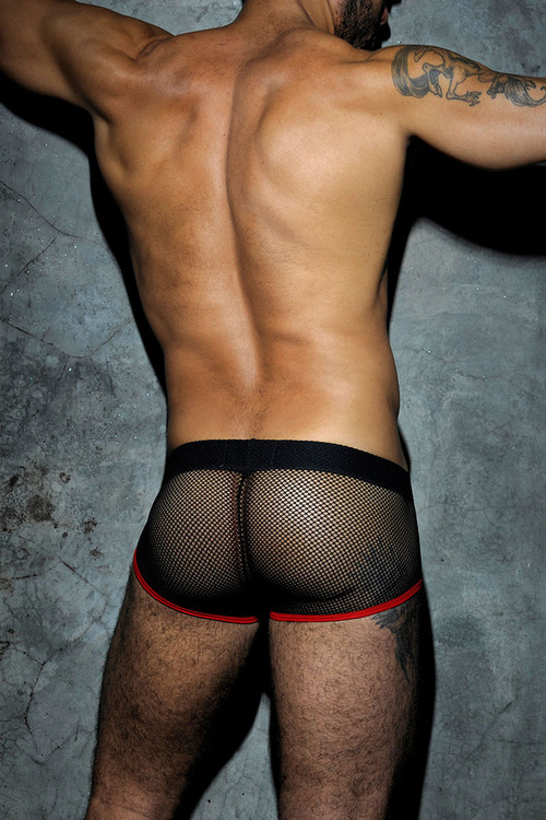 06 Red - Addicted Fetish Mesh Short Boxer ADF03 - Rear View - Topdrawers Underwear for Men