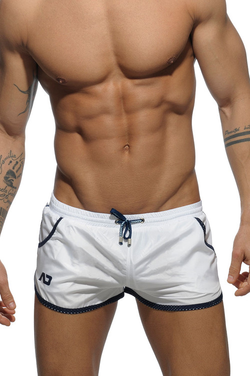 01 White - Addicted Rocky Swim Short ADS112 - Front View - Topdrawers Swimwear for Men