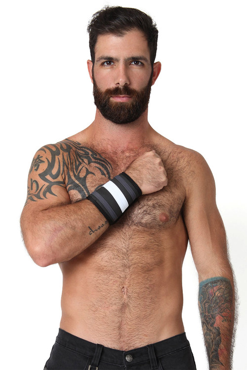 White - CellBlock 13 Rogue Neoprene Wallet Cuff A037 - Front View - Topdrawers Underwear for Men