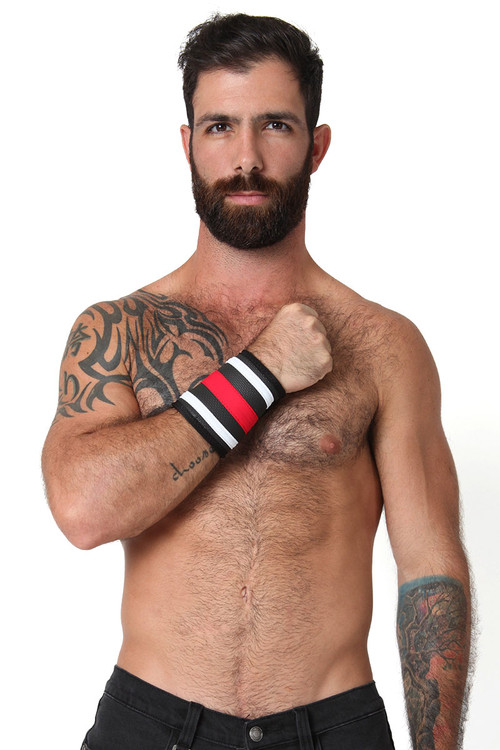 Red - CellBlock 13 Rogue Neoprene Wallet Cuff A037 - Front View - Topdrawers Underwear for Men