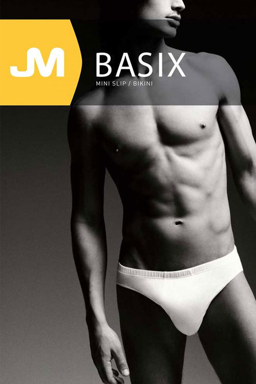 002 White - JM BASIX Bikini 08152 - Topdrawers Underwear for Men