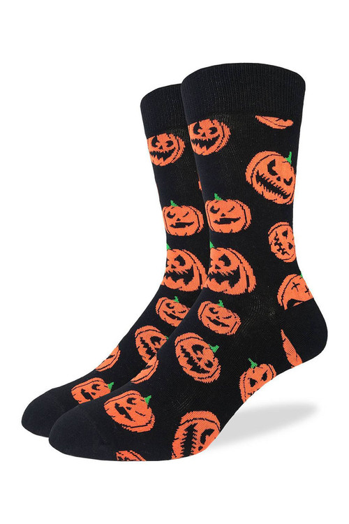 Good Luck Sock Halloween Pumpkins Crew Sock 1391 - Topdrawers Underwear for Men