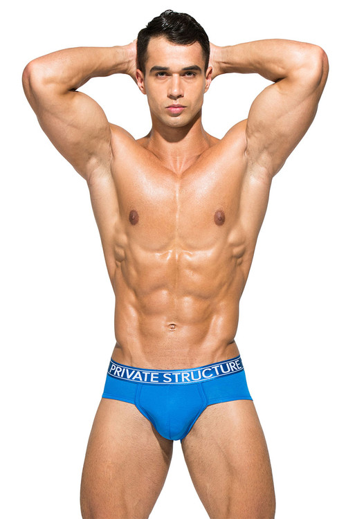 Solid Blue - Private Structure Platinum Bamboo Contour Brief PBUZ3748 - Front View - Topdrawers Underwear for Men