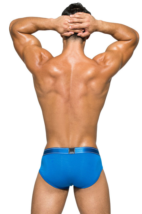 Solid Blue - Private Structure Platinum Bamboo Contour Brief PBUZ3748 - Rear View - Topdrawers Underwear for Men