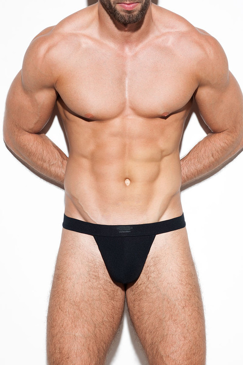 10 Black - ES Collection Second Skin Basic Thong UN276 - Front View - Topdrawers Underwear for Men