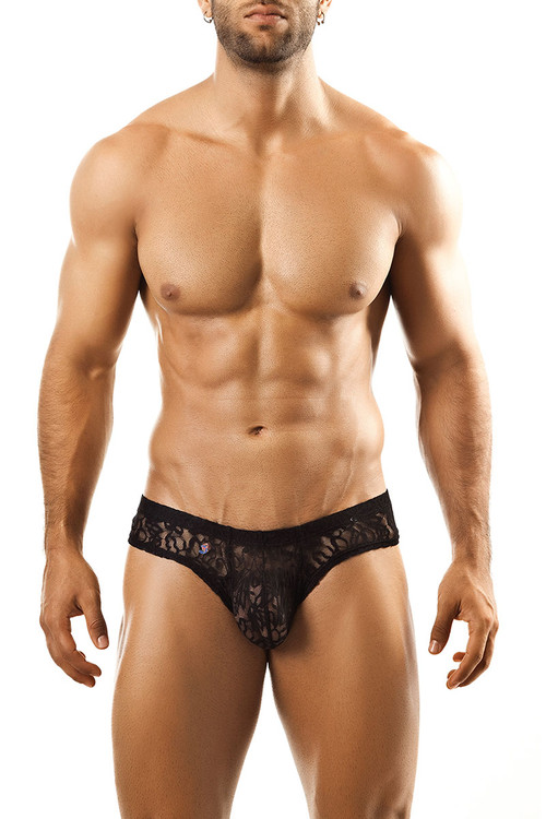 Black Lace - Joe Snyder Mini Cheek Thong JS22 - Front View - Topdrawers Underwear for Men