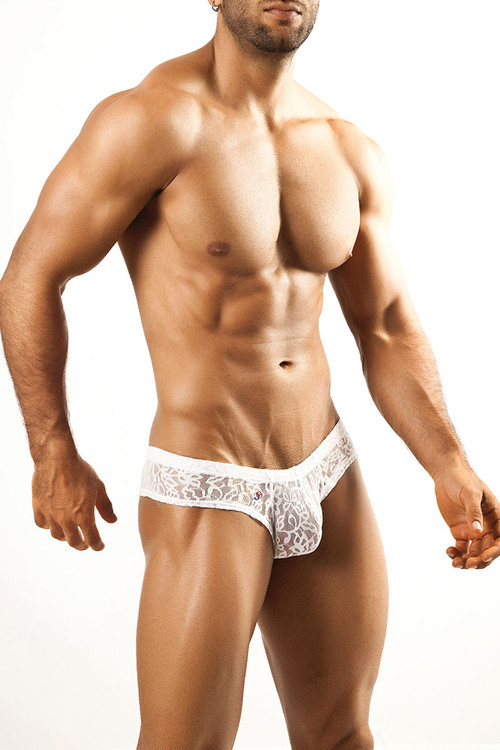 White Lace - Joe Snyder Mini Cheek Thong JS22 - Front View - Topdrawers Underwear for Men