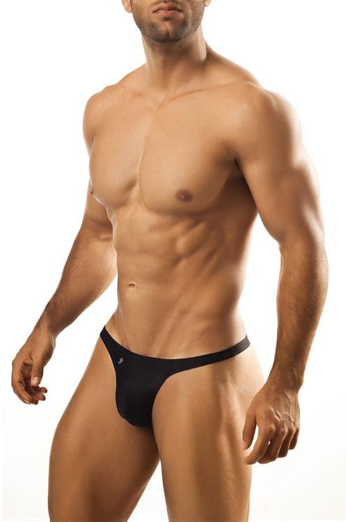 Black - Joe Snyder Thong JS03 - Front View - Topdrawers Underwear for Men