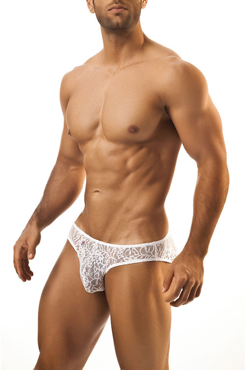 White Lace - Joe Snyder Bikini Brief JS01 - Front View - Topdrawers Underwear for Men