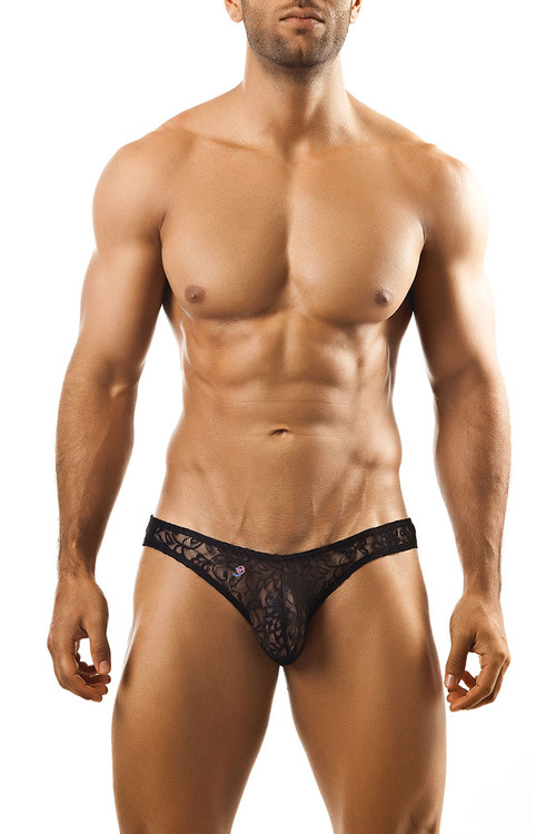 Black Lace - Joe Snyder Bikini Brief JS01 - Front View - Topdrawers Underwear for Men