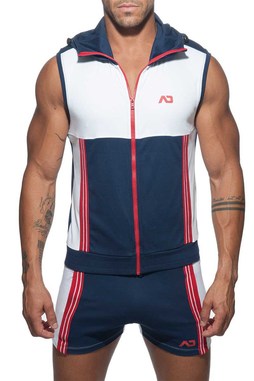 Addicted AD Sleeveless Hoody AD673-09 Navy Blue - Men Hoodies -  Front View - Topdrawers Underwear for Men