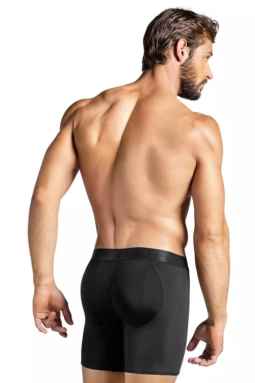 Leo Padded Butt Enhancer Boxer Brief 033280 - Black - Mens Boxer Brief Shapewear - Rear View - Topdrawers Underwear for Men