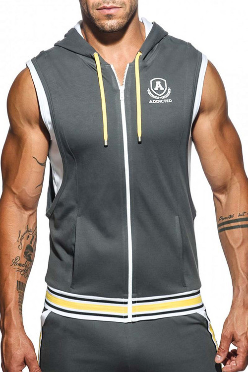 Addicted Zip Cotton Hoody AD334-15 Charcoal - Mens Hoodie Athletic Tops - Front View - Topdrawers Clothing for Men