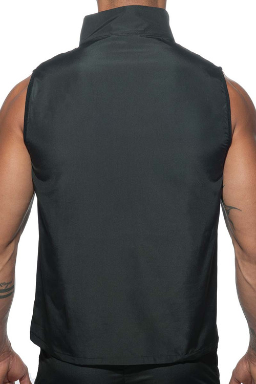 Addicted Fast Dry Sleeveless Jacket AD629-10 Black - Mens Athletic Tops - Rear View - Topdrawers Clothing for Men