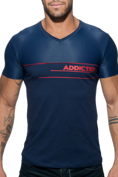 Addicted Mesh AD T-Shirt AD660-09 Navy Blue - Mens Athletic T-Shirts - Front View - Topdrawers Clothing for Men