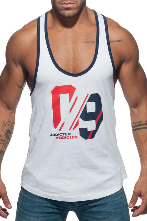 Addicted Sport 09 Tank Top AD723-01 White - Mens Athletic Tank Tops - Front View - Topdrawers Clothing for Men