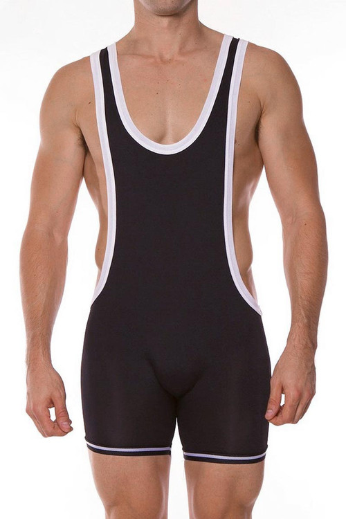 Go Softwear AJ Gym Zephyr Wrestler 8778 - Black - Mens Wrestler Singlets - Front View - Topdrawers Underwear for Men