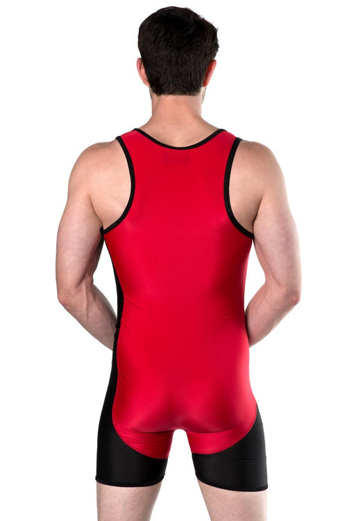Go Softwear AJ Team Wrestler 8798 - Red/Black - Mens Wrestler Singlets - Rear View - Topdrawers Underwear for Men