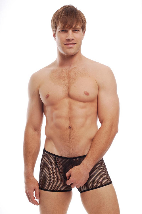 Go Softwear Euro Mesh Square Cut 3722 - Black - Mens Sheer Trunk Boxer Briefs - Front View - Topdrawers Underwear for Men
