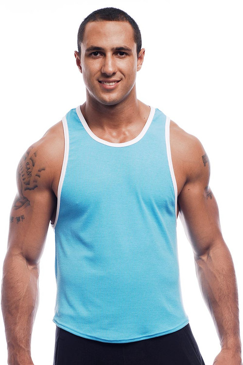 Go Softwear Pop Scoop Tank 2407 - Turquoise - Mens Tank Tops - Front View - Topdrawers Clothing for Men