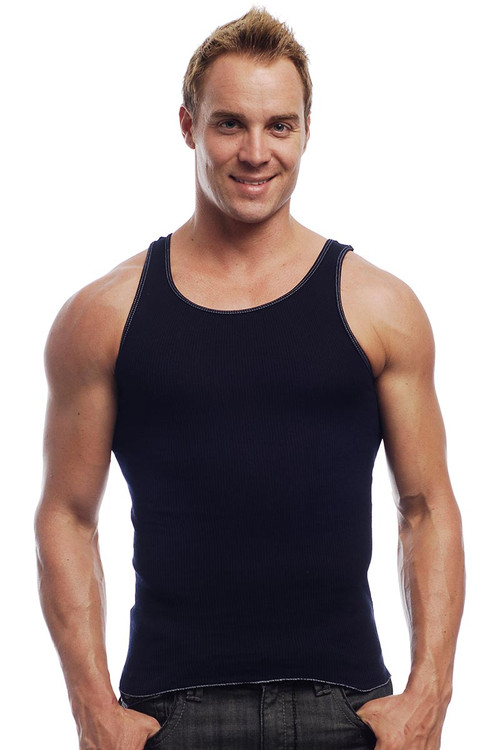 Go Softwear Rib Tank 4615 - Navy Blue - Mens Tank Tops - Front View - Topdrawers Clothing for Men