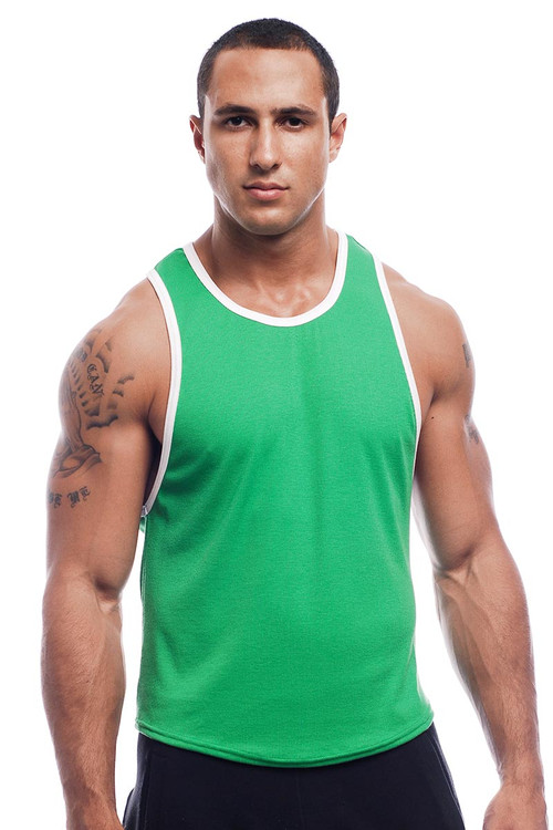 Go Softwear Pop Scoop Tank 2407 - Green - Mens Tank Tops - Front View - Topdrawers Clothing for Men