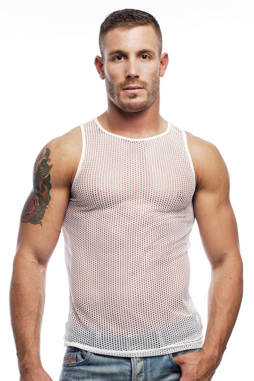 Go Softwear Euro Mesh Tank 3725 - White - Mens Sheer Tank Tops - Front View - Topdrawers Underwear for Men