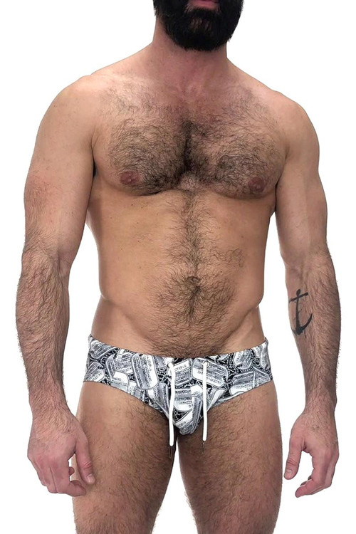 Nasty Pig Dog Tag Swim Bikini 6095 - Mens Swim Bikini Briefs - Front View - Topdrawers Swimwear for Men