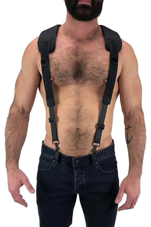 Nasty Pig Troop Suspender 8512 - Black - Mens Fetish Suspender Harness - Front View - Topdrawers Underwear for Men