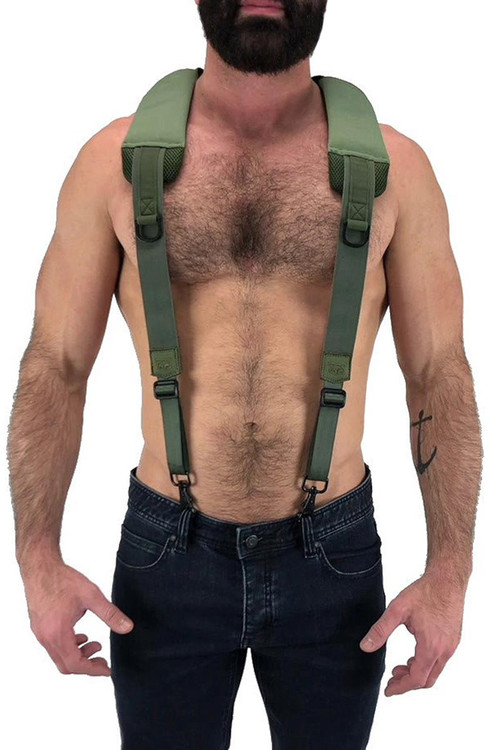 Nasty Pig Troop Suspender 8512 - Green - Mens Fetish Suspender Harness - Front View - Topdrawers Underwear for Men