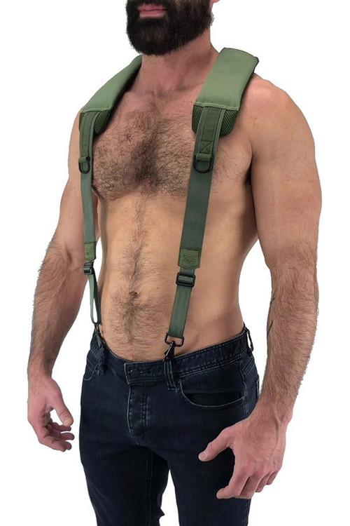 Nasty Pig Troop Suspender 8512 - Green - Mens Fetish Suspender Harness - Side View - Topdrawers Underwear for Men
