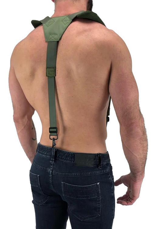 Nasty Pig Troop Suspender 8512 - Green - Mens Fetish Suspender Harness - Rear View - Topdrawers Underwear for Men