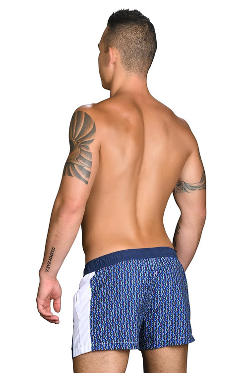 Andrew Christian Black Collection Madison Swim Shorts w/ Gold Charm 7710 - Mens Board Shorts - Rear View - Topdrawers Swimwear for Men