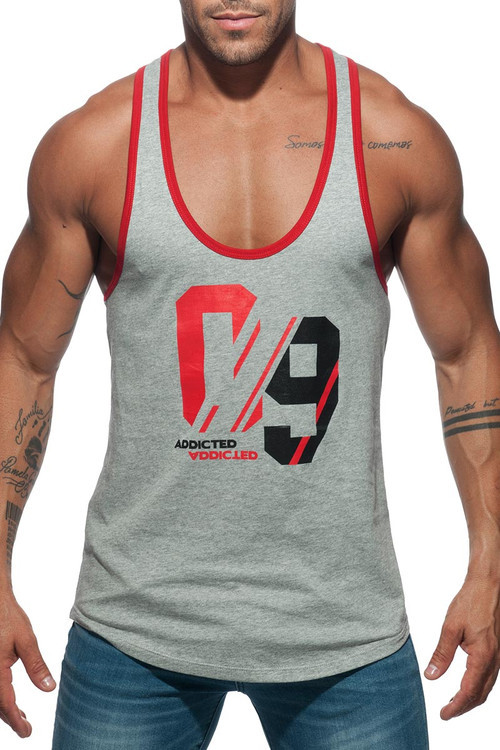 Addicted Sport 09 Tank Top AD723 - 11 Heather Grey - Mens Tank Tops - Front View - Topdrawers Clothing for Men