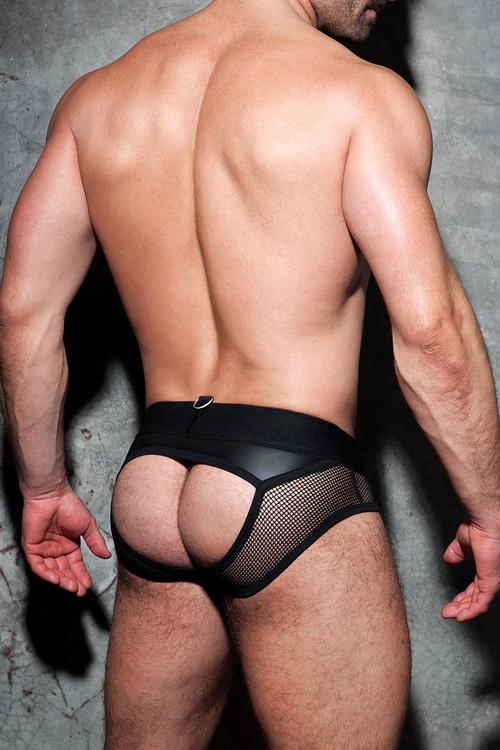 Addicted Fetish Mesh Mixed Bottomless Brief ADF77 - 10 Black - Mens Fetish Jock Briefs - Rear View - Topdrawers Underwear for Men