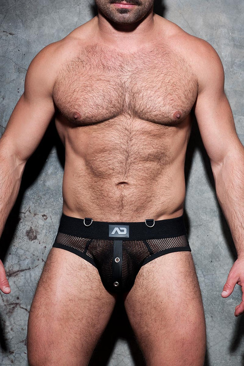Addicted Fetish Mesh Mixed Bottomless Brief ADF77 - 10 Black - Mens Fetish Jock Briefs - Front View - Topdrawers Underwear for Men