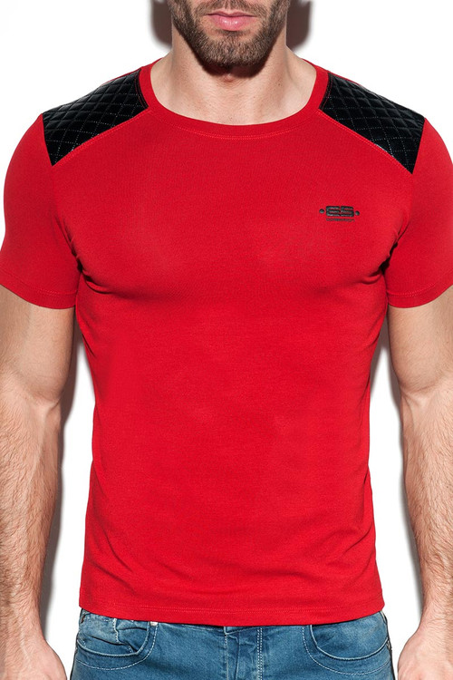 ES Collection Dystopia Padded T-Shirt TS230 - 06 Red - Mens T-Shirts - Front View - Topdrawers Clothing for Men