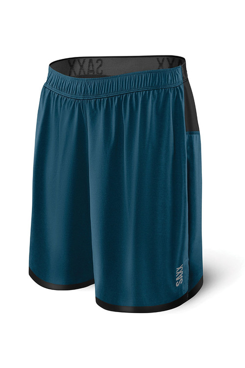 Saxx Pilot 2N1 Short SXRU28 - BSH Velvet Blue Heather - Mens Athletic Shorts - Front View - Topdrawers Clothing for Men