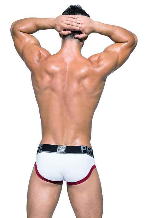 Private Structure BeFit Athlete Mini Brief BATMU1915BT - WH White - Mens Sport Briefs - Rear View - Topdrawers Underwear for Men