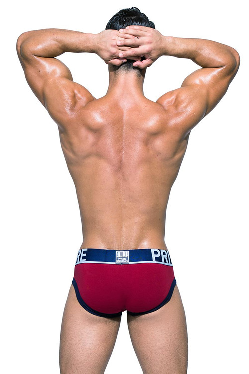 Private Structure BeFit Athlete Mini Brief BATMU1915BT - HRR High Risk Red - Mens Sport Briefs - Rear View - Topdrawers Underwear for Men
