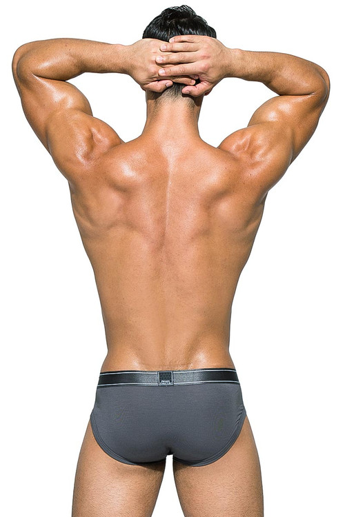 Private Structure Platinum Bamboo Contour Brief PBUZ3748 - HGR Hermit Grey - Mens Briefs - Rear View - Topdrawers Underwear for Men