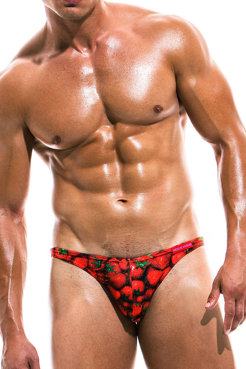 Modus Vivendi Fruits Low Cut Swim Brief FS1911 - Strawberry - Mens Swim Bikini Swimsuits - Front View - Topdrawers Swimwear for Men