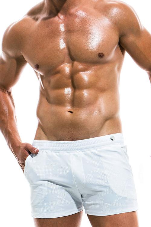 Modus Vivendi Glitter Swim Short AS1931 - White - Mens Swim Short Boardshort Swimsuits - Front View - Topdrawers Swimwear for Men