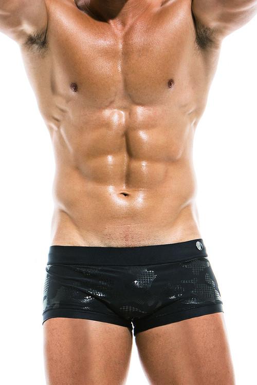 Modus Vivendi Glitter Brazil Cut Swim Trunk AS1921 - Black - Mens Swim Trunk Swimsuits - Front View - Topdrawers Swimwear for Men