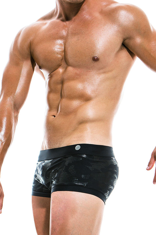 Modus Vivendi Glitter Brazil Cut Swim Trunk AS1921 - Black - Mens Swim Trunk Swimsuits - Side View - Topdrawers Swimwear for Men