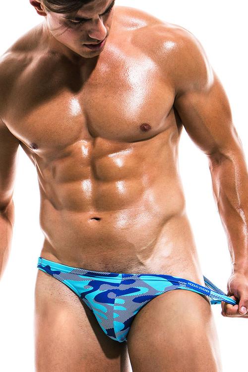 Modus Vivendi Camo Marine Low Cut Swim Brief ES1911 - Aqua - Mens Swim Bikini Swimsuits - Front View - Topdrawers Swimwear for Men