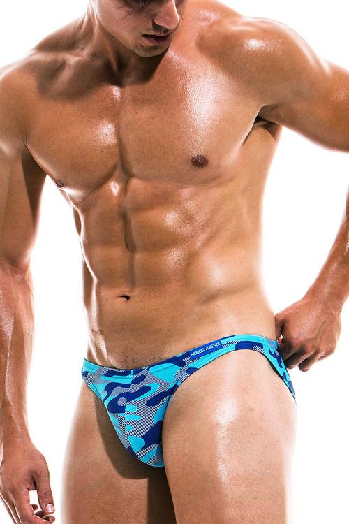 Modus Vivendi Camo Marine Low Cut Swim Brief ES1911 - Aqua - Mens Swim Bikini Swimsuits - Side View - Topdrawers Swimwear for Men