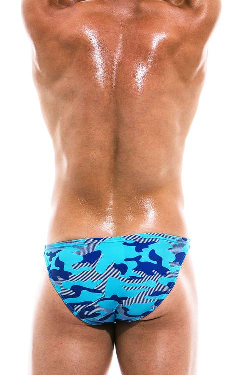 Modus Vivendi Camo Marine Low Cut Swim Brief ES1911 - Aqua - Mens Swim Bikini Swimsuits - Rear View - Topdrawers Swimwear for Men