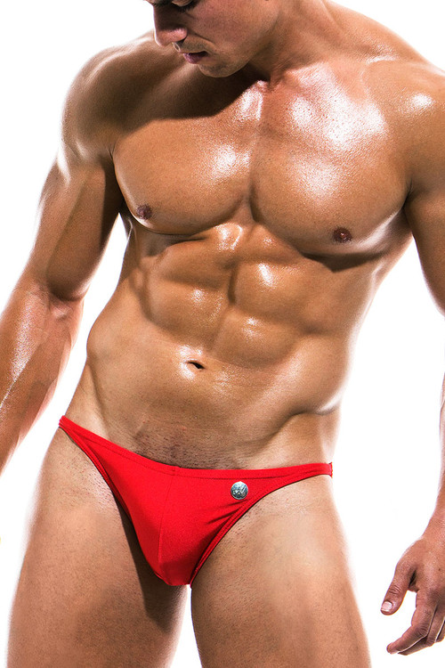 Modus Vivendi Bodybuilding Low Cut Swim Brief BS1911 - Red - Mens Swim Bikini Swimsuits - Front View - Topdrawers Swimwear for Men